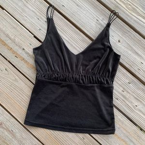 Express Charcoal Suede/Velour Crop Top
